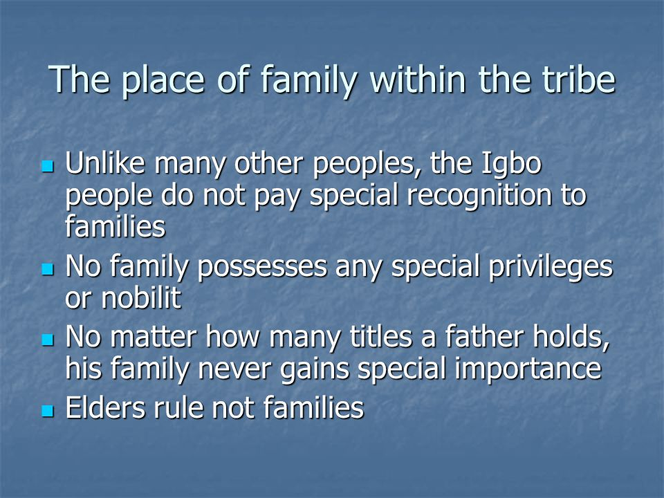 The roles of family members and its relevance Family members live up to their expectations in the novel Family members live up to their expectations in the novel Okonkwo is the head of the household Okonkwo is the head of the household Okonkwo's wives raised the children and fufilled role as house wife Okonkwo's wives raised the children and fufilled role as house wife Nwoye is expected by Okonkwo to be the greatest of his sons and to truly inherit his name and live it out Nwoye is expected by Okonkwo to be the greatest of his sons and to truly inherit his name and live it out Ezinma is expected to be a young woman and act as so, so that she can be married Ezinma is expected to be a young woman and act as so, so that she can be married
