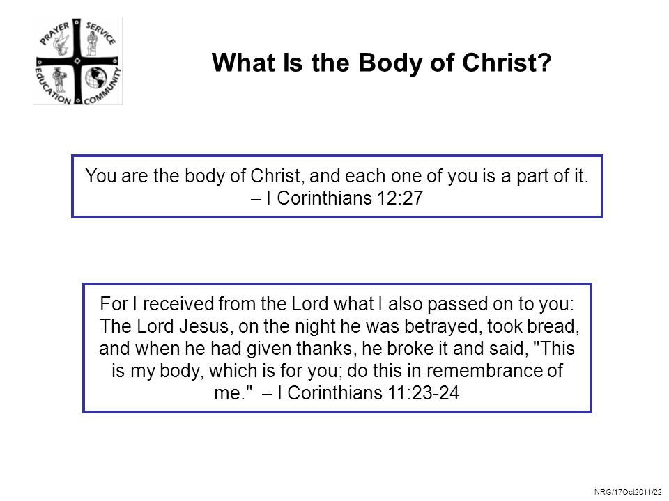 NRG/17Oct2011/22 What Is the Body of Christ.