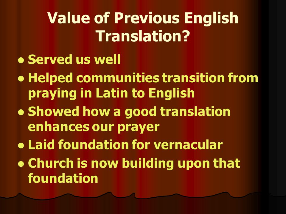 Value of Previous English Translation.