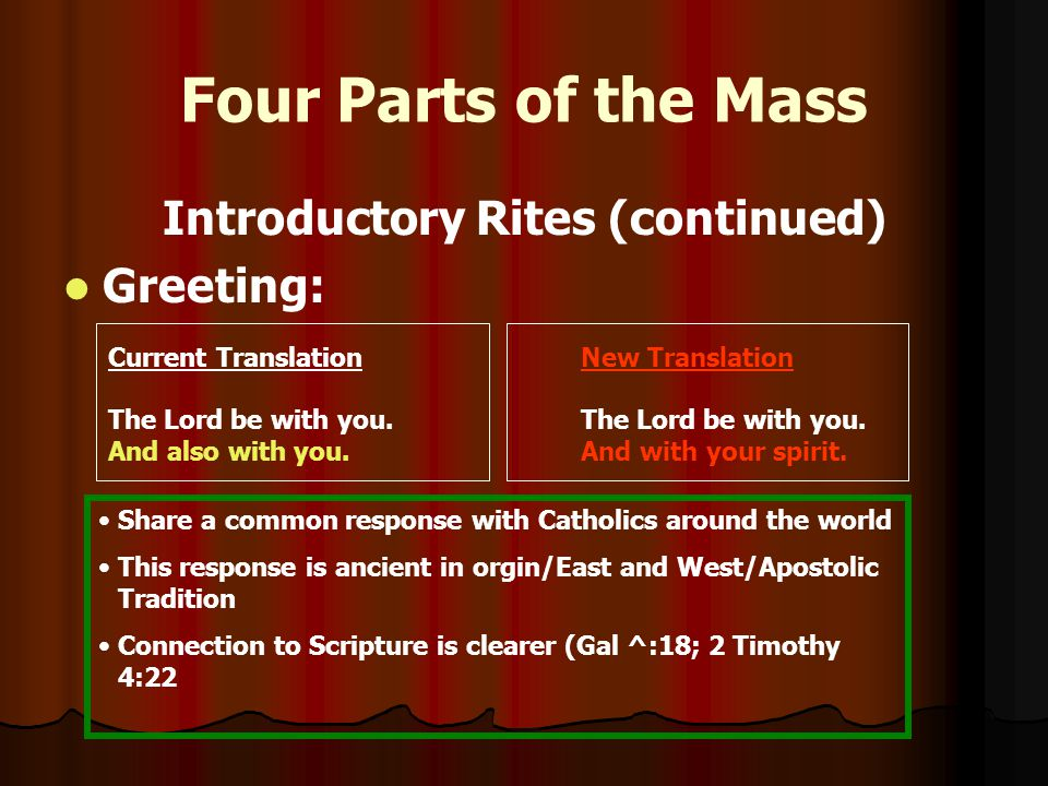 Four Parts of the Mass Introductory Rites (continued) Greeting: Current TranslationNew TranslationThe Lord be with you.