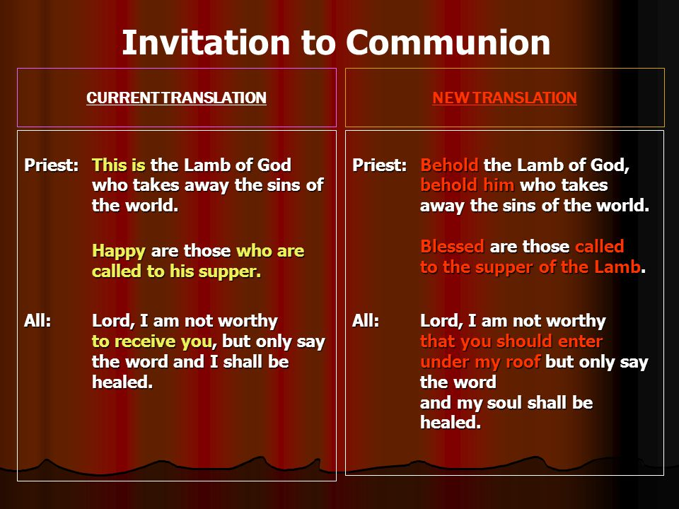 CURRENT TRANSLATIONNEW TRANSLATION Priest: This is the Lamb of God who takes away the sins of the world.