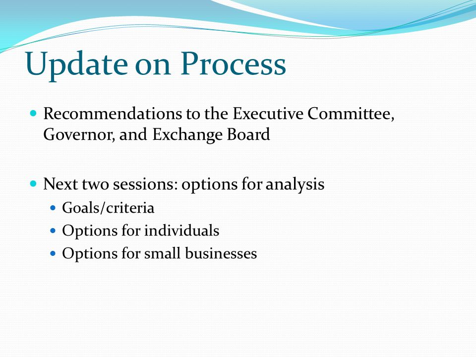 Update on Process Recommendations to the Executive Committee, Governor, and Exchange Board Next two sessions: options for analysis Goals/criteria Options for individuals Options for small businesses