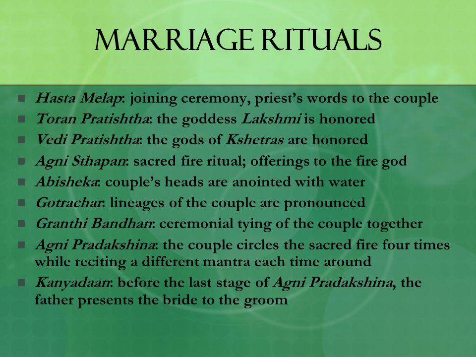 Marriage Rituals Hasta Melap: joining ceremony, priest's words to the couple Toran Pratishtha: the goddess Lakshmi is honored Vedi Pratishtha: the god