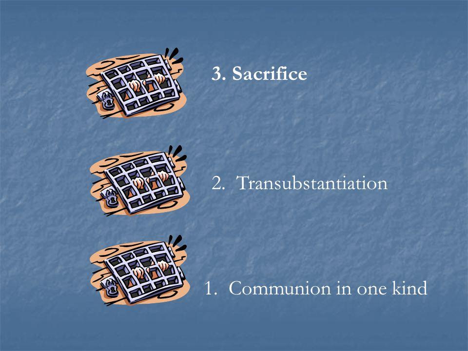 1. Communion in one kind 2. Transubstantiation 3. Sacrifice