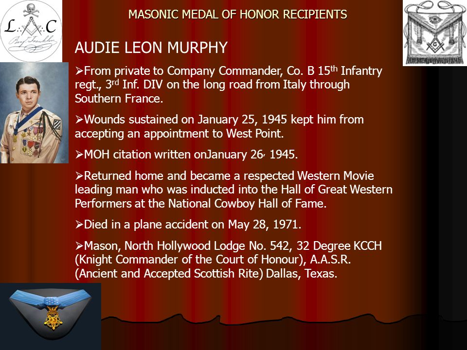 MASONIC MEDAL OF HONOR RECIPIENTS JOHN G.B.ADAMS, 2LT  Co.