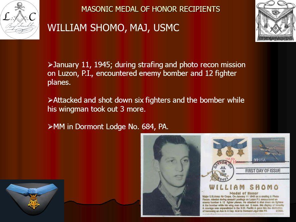 MASONIC MEDAL OF HONOR RECIPIENTS JOE M.JACKSON, LTC, USAF  Earned MOH at Kham Duc Vietnam.