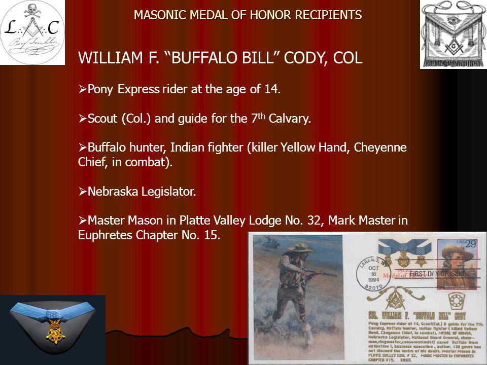 MASONIC MEDAL OF HONOR RECIPIENTS FRANKLIN D.