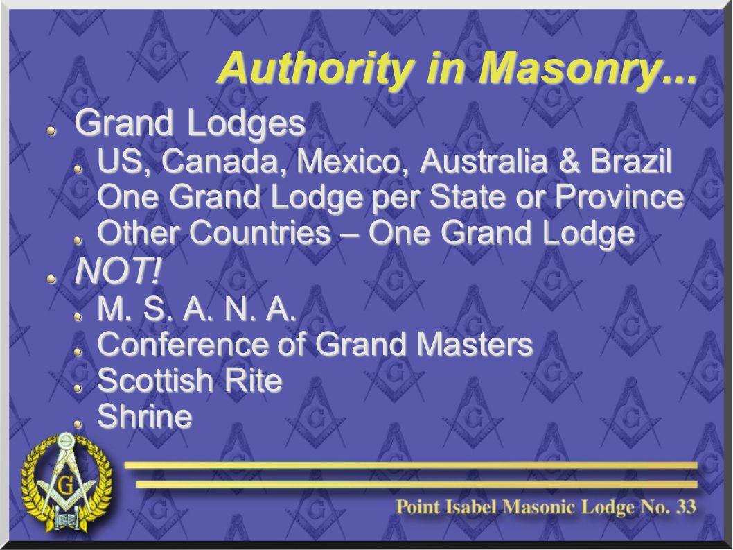 Authority in Masonry...