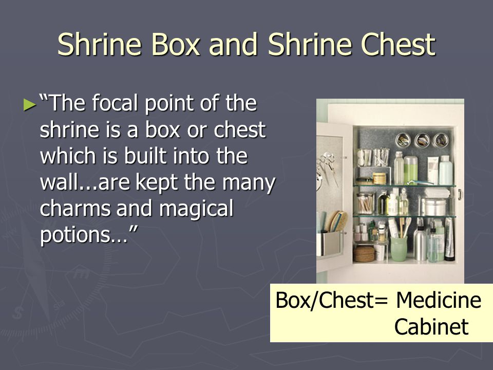 "Shrine Box and Shrine Chest ► ""The focal point of the shrine is a box or chest which is built into the wall...are kept the many charms and magical pot"