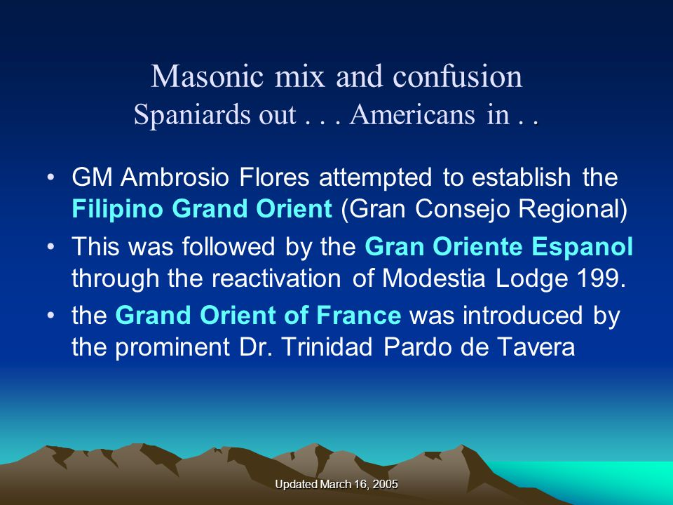 Updated March 16, 2005.Masonic mix and confusion Spaniards out...