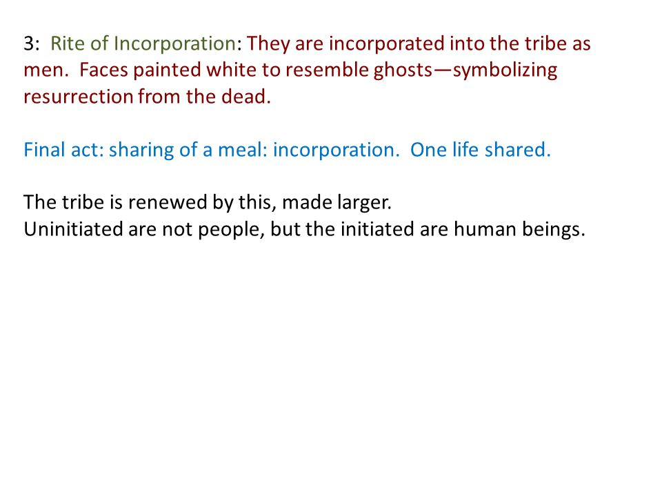 3: Rite of Incorporation: They are incorporated into the tribe as men.