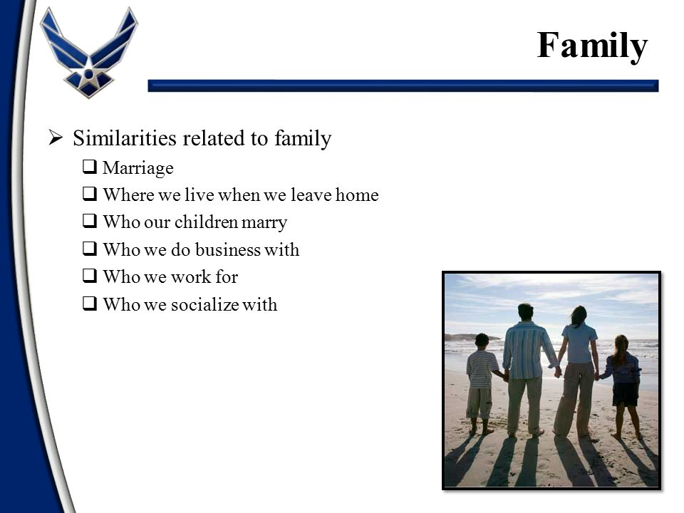  Similarities related to family  Marriage  Where we live when we leave home  Who our children marry  Who we do business with  Who we work for  Who we socialize with Family