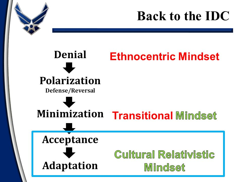 Denial Polarization Defense/Reversal Minimization Acceptance Adaptation Back to the IDC