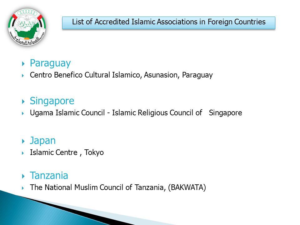  Paraguay  Centro Benefico Cultural Islamico, Asunasion, Paraguay  Singapore  Ugama Islamic Council - Islamic Religious Council of Singapore  Jap