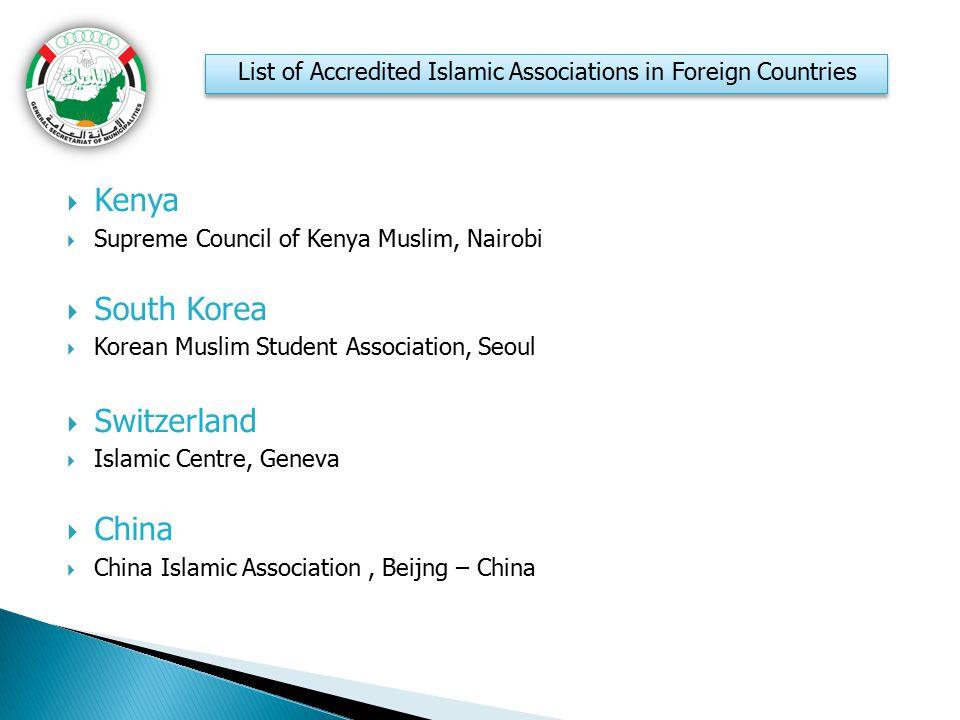  Kenya  Supreme Council of Kenya Muslim, Nairobi  South Korea  Korean Muslim Student Association, Seoul  Switzerland  Islamic Centre, Geneva  C