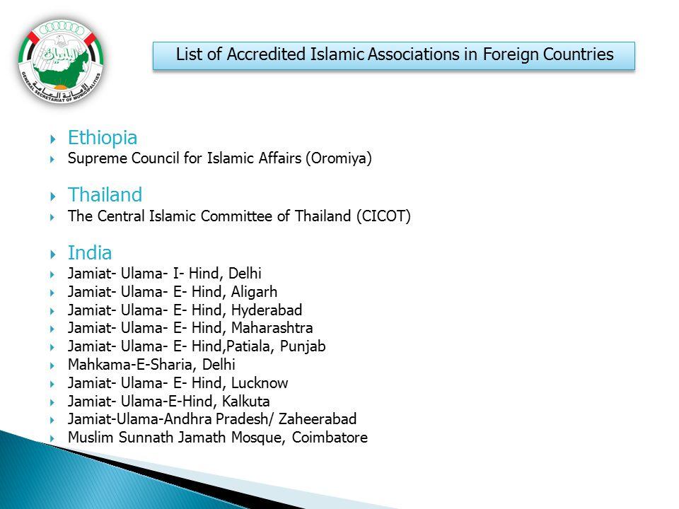  Ethiopia  Supreme Council for Islamic Affairs (Oromiya)  Thailand  The Central Islamic Committee of Thailand (CICOT)  India  Jamiat- Ulama- I-