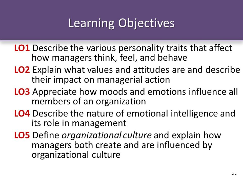 Learning Objectives LO1 Describe the various personality traits that affect how managers think, feel, and behave LO2 Explain what values and attitudes