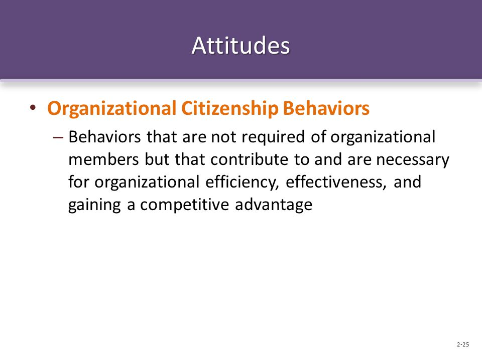 Attitudes Organizational Citizenship Behaviors – Behaviors that are not required of organizational members but that contribute to and are necessary for organizational efficiency, effectiveness, and gaining a competitive advantage 2-25