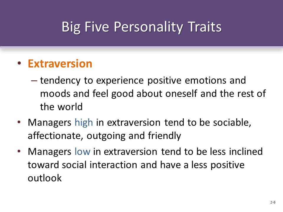 Big Five Personality Traits Extraversion – tendency to experience positive emotions and moods and feel good about oneself and the rest of the world Managers high in extraversion tend to be sociable, affectionate, outgoing and friendly Managers low in extraversion tend to be less inclined toward social interaction and have a less positive outlook 2-6