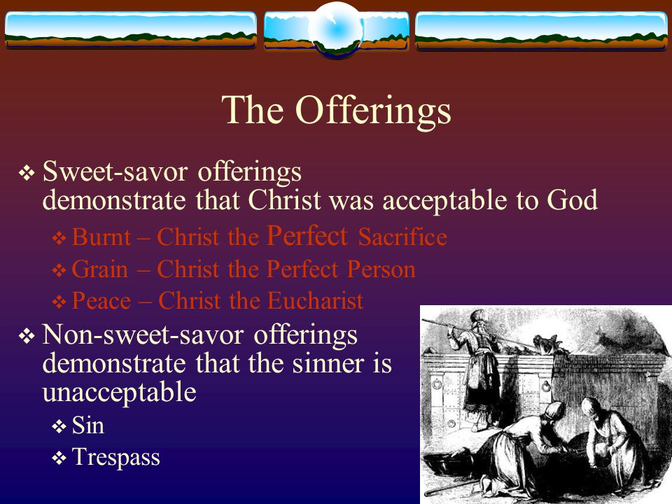 The Offerings  Sweet-savor offerings demonstrate that Christ was acceptable to God  Burnt – Christ the Perfect Sacrifice  Grain – Christ the Perfec