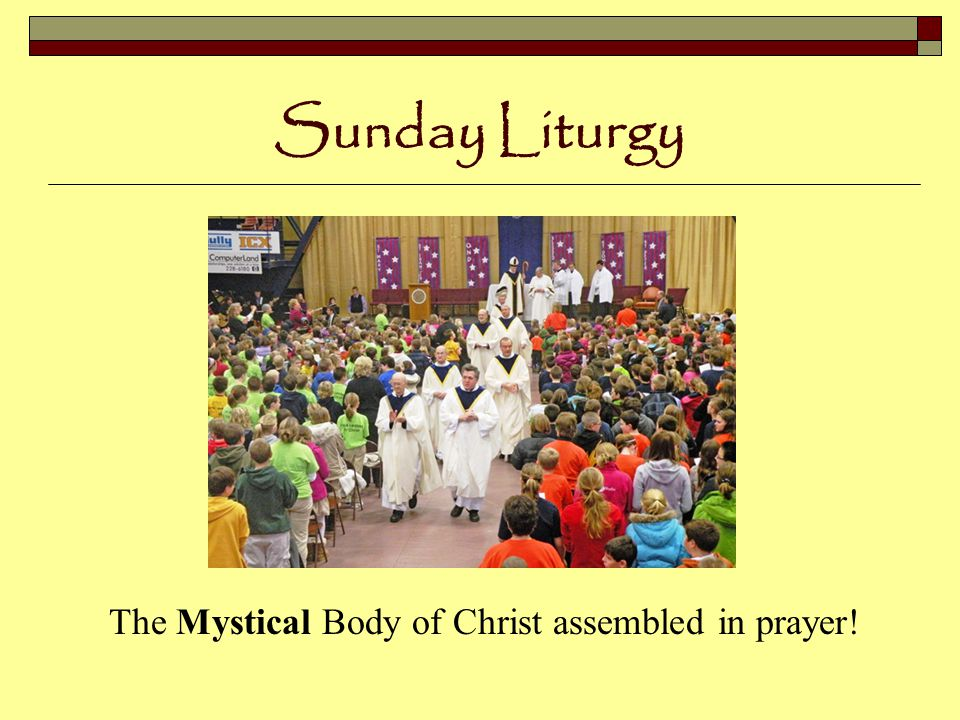 Sunday Liturgy Unity of language, gesture, expression and meaning throughout the world!