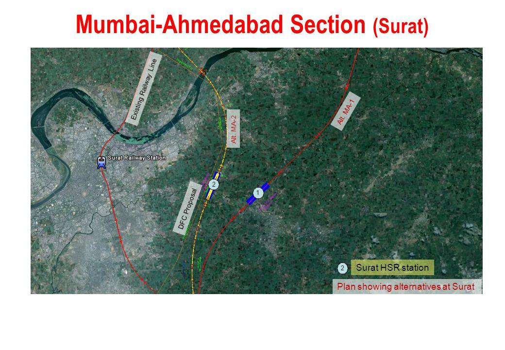 Mumbai-Ahmedabad Section (Surat) Plan showing alternatives at Surat Alt. MA-1 Existing Railway Line Alt. MA-2 DFC Proposal 1 2 1 Surat HSR station 2