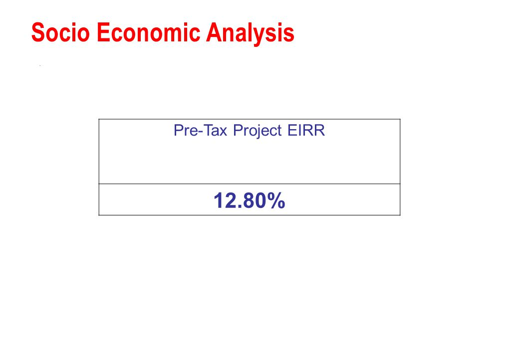 Socio Economic Analysis. Pre-Tax Project EIRR 12.80%