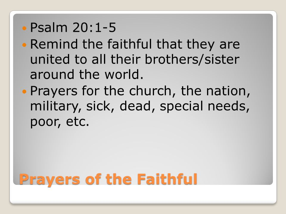 Prayers of the Faithful Psalm 20:1-5 Remind the faithful that they are united to all their brothers/sister around the world.