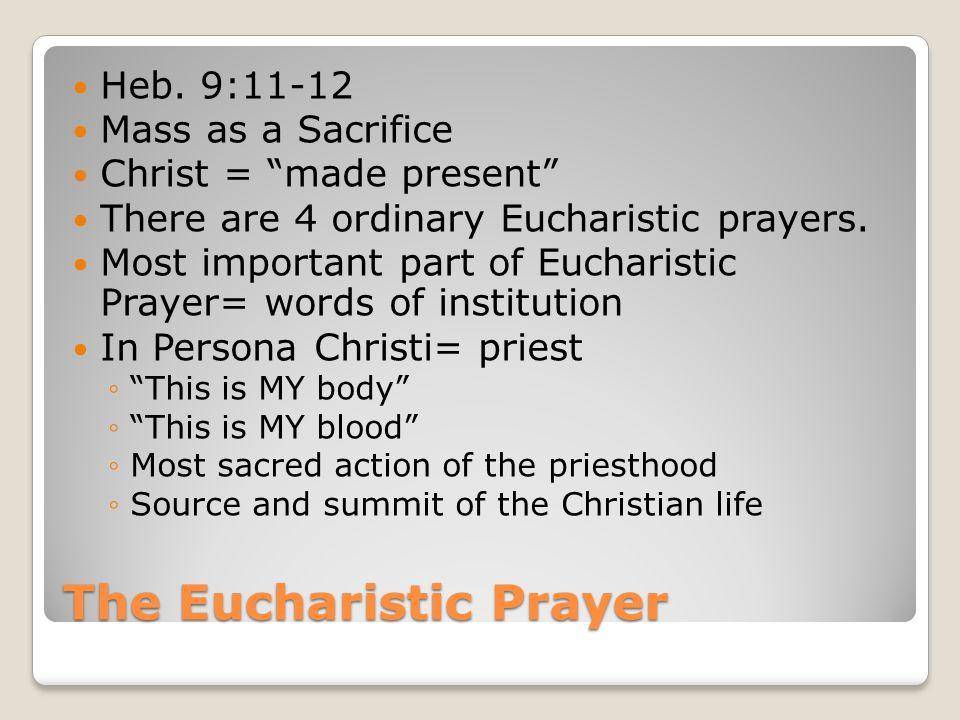 The Eucharistic Prayer Heb.