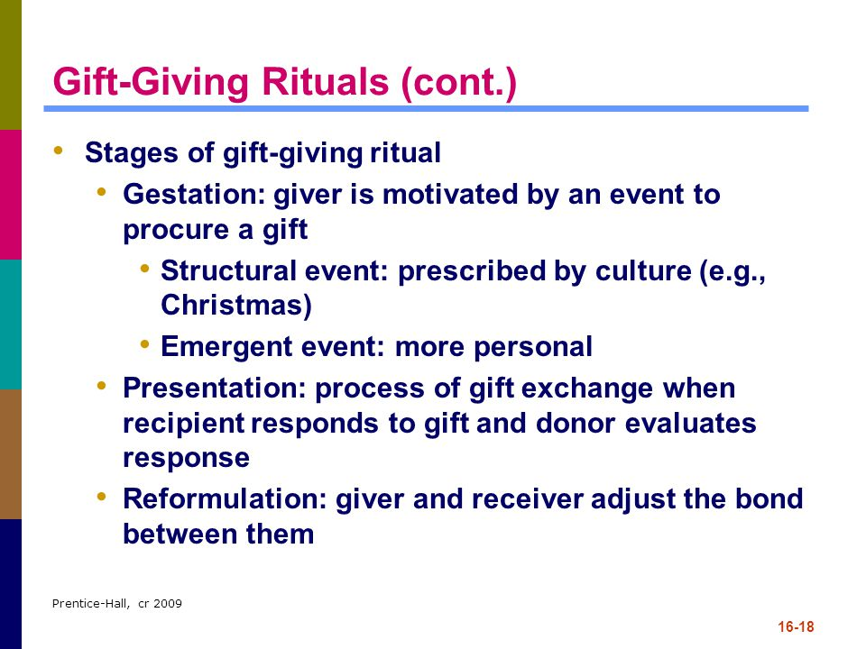 Prentice-Hall, cr 2009 16-18 Gift-Giving Rituals (cont.) Stages of gift-giving ritual Gestation: giver is motivated by an event to procure a gift Stru