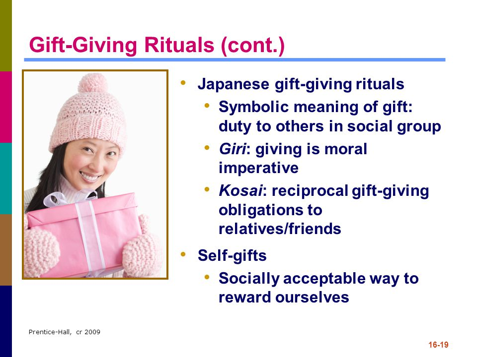 Prentice-Hall, cr 2009 16-19 Gift-Giving Rituals (cont.) Japanese gift-giving rituals Symbolic meaning of gift: duty to others in social group Giri: g