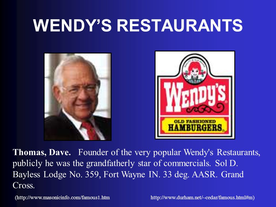 WENDY'S RESTAURANTS Thomas, Dave. Founder of the very popular Wendy's Restaurants, publicly he was the grandfatherly star of commercials. Sol D. Bayle