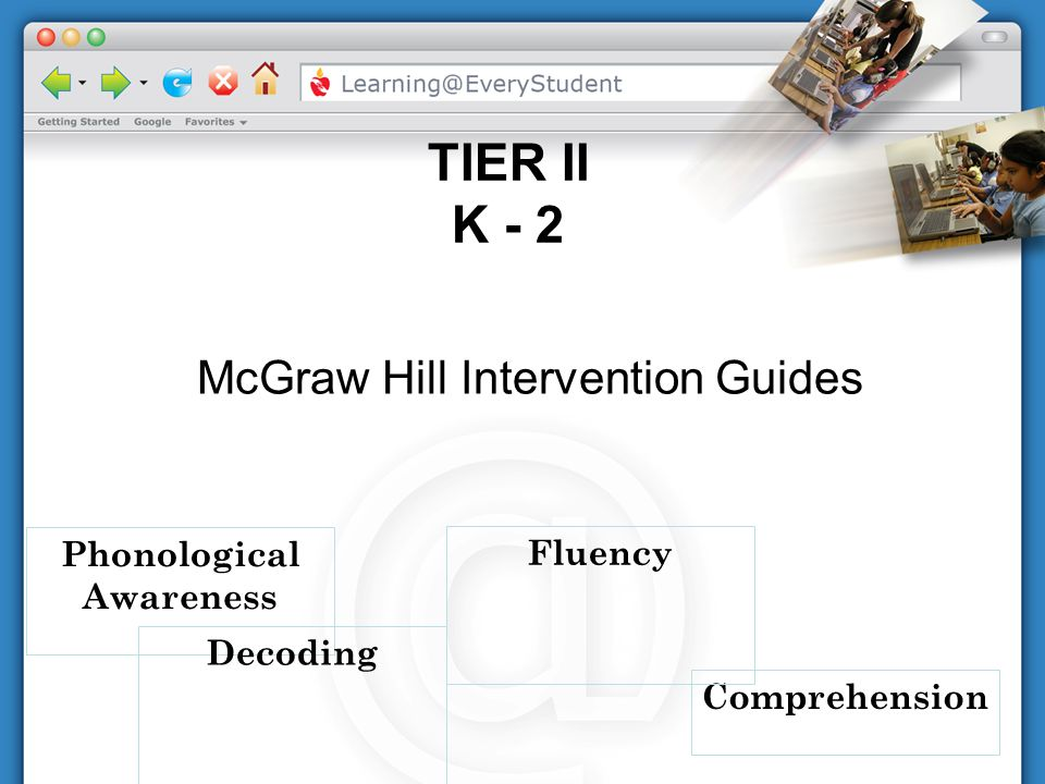 Phonological Awareness TIER II K - 2 Comprehension Decoding McGraw Hill Intervention Guides Fluency