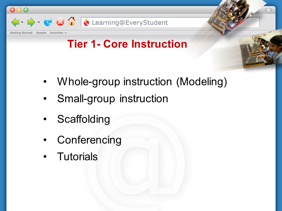 Tier 1- Core Instruction Whole-group instruction (Modeling) Small-group instruction Scaffolding Conferencing Tutorials