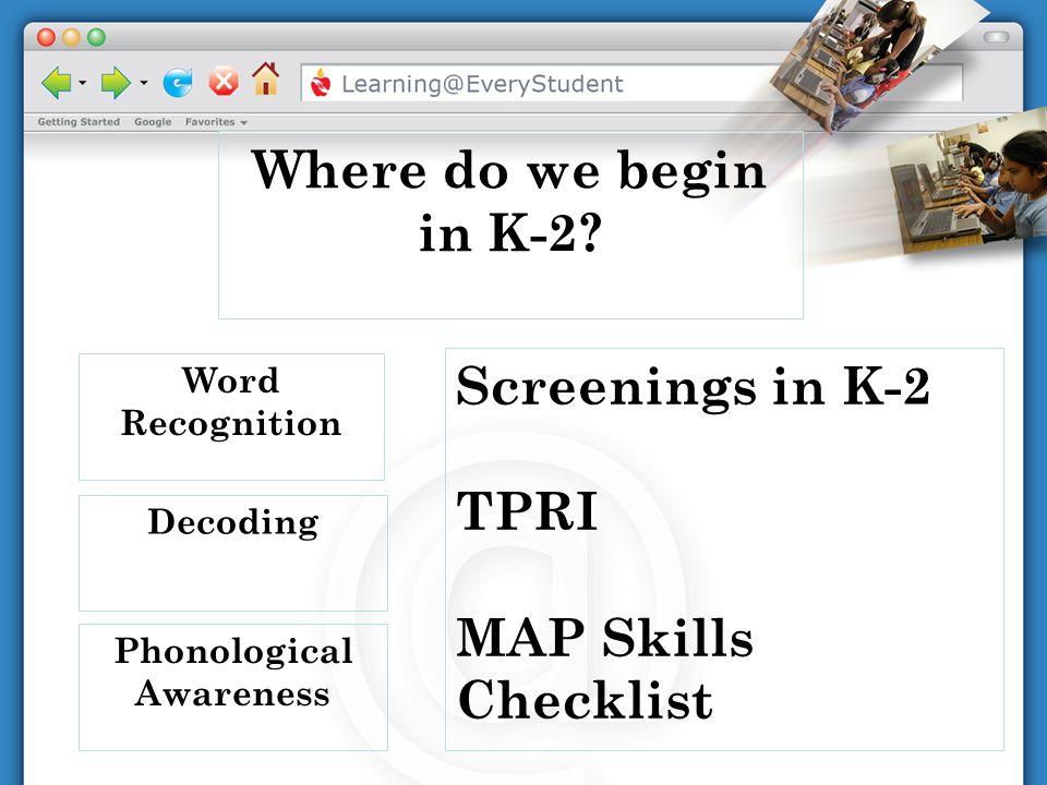 Phonological Awareness Decoding Word Recognition Where do we begin in K-2? Screenings in K-2 TPRI MAP Skills Checklist