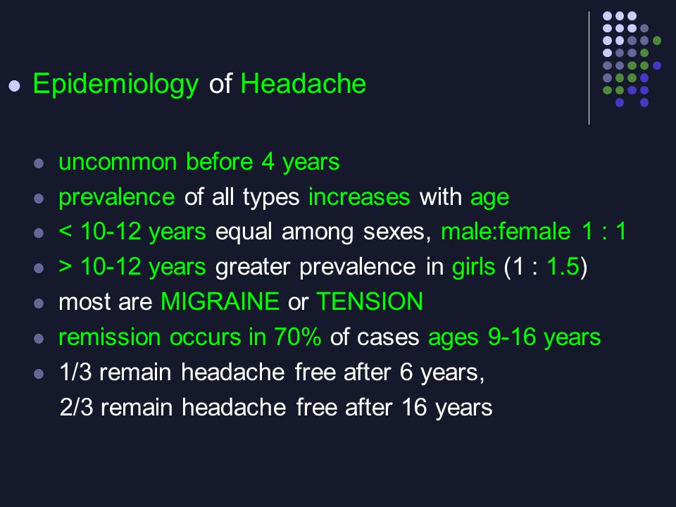 Epidemiology of Headache uncommon before 4 years prevalence of all types increases with age < 10-12 years equal among sexes, male:female 1 : 1 > 10-12