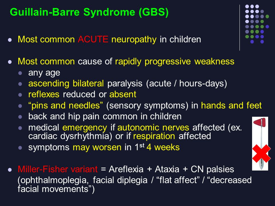 Guillain-Barre Syndrome (GBS) Most common ACUTE neuropathy in children Most common cause of rapidly progressive weakness any age ascending bilateral p