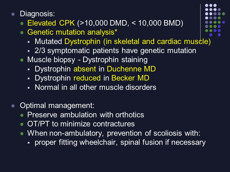 Diagnosis: Elevated CPK (>10,000 DMD, < 10,000 BMD) Genetic mutation analysis*  Mutated Dystrophin (in skeletal and cardiac muscle)  2/3 symptomatic