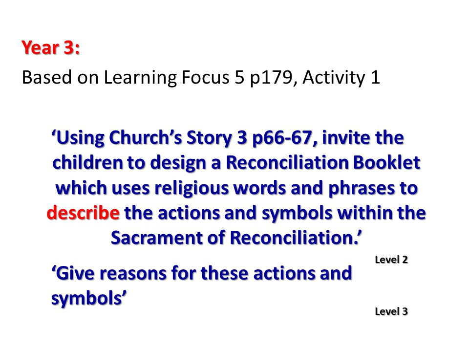 Year 3: Based on Learning Focus 5 p179, Activity 1 'Using Church's Story 3 p66-67, invite the children to design a Reconciliation Booklet which uses r