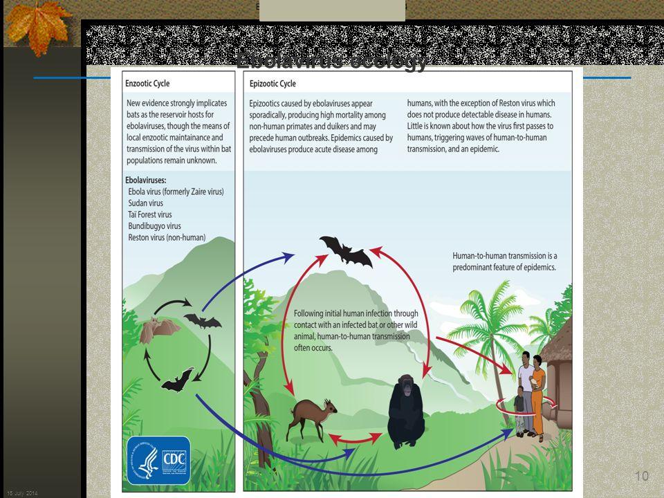 Ebola Response Update for 16 July 2014 10 16 July 2014 Ebolavirus ecology