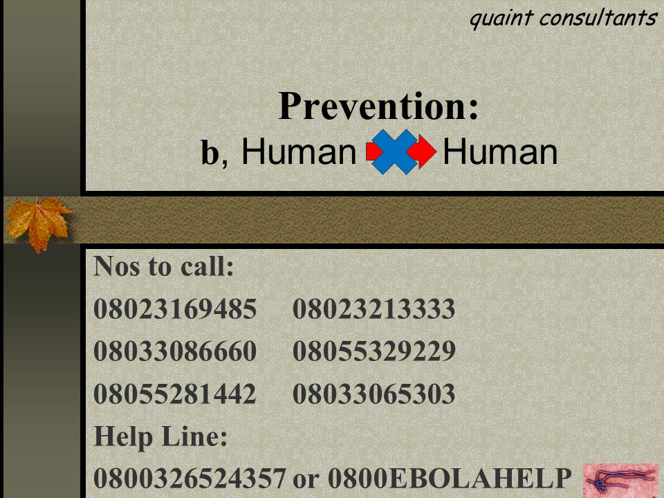 Prevention: b, Human Human Nos to call: 0802316948508023213333 0803308666008055329229 0805528144208033065303 Help Line: 0800326524357 or 0800EBOLAHELP quaint consultants