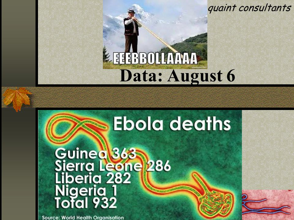 Data: August 12 quaint consultants No of infected persons: 1838 No of deaths: 1013 ……..WHO