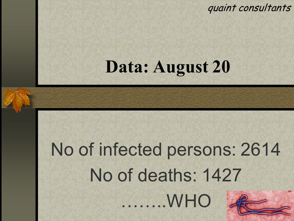 Data: August 29 quaint consultants No of infected persons: 3069 No of deaths: 1572 ……..WHO