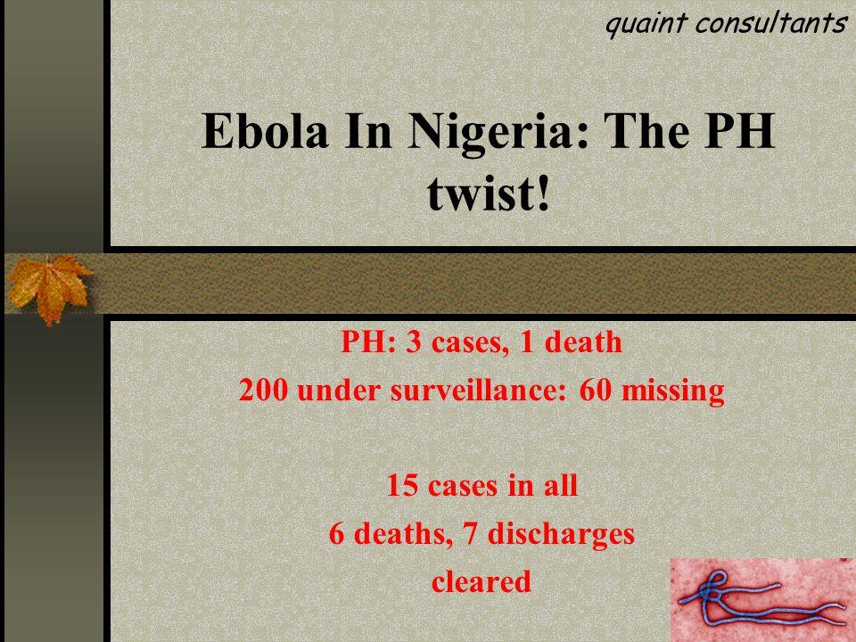 Ebola In Nigeria: The PH twist.