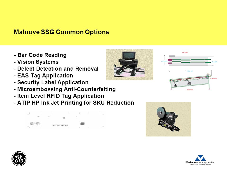 Malnove SSG Common Options - Bar Code Reading - Vision Systems - Defect Detection and Removal - EAS Tag Application - Security Label Application - Microembossing Anti-Counterfeiting - Item Level RFID Tag Application - ATIP HP Ink Jet Printing for SKU Reduction