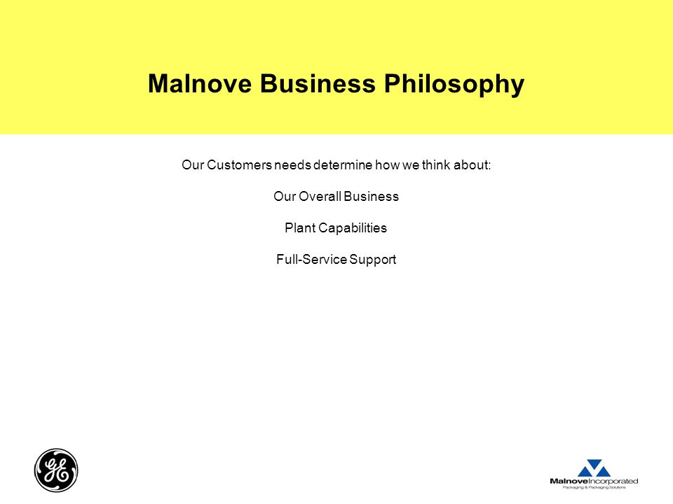 Malnove Business Philosophy Our Customers needs determine how we think about: Our Overall Business Plant Capabilities Full-Service Support