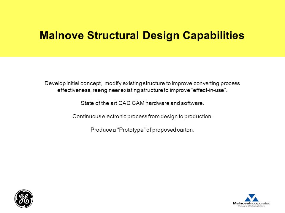 Malnove Structural Design Capabilities Develop initial concept, modify existing structure to improve converting process effectiveness, reengineer existing structure to improve effect-in-use .