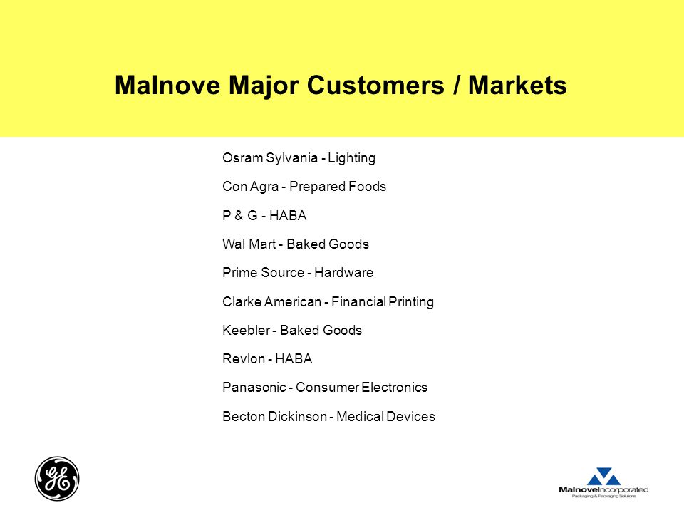 Malnove Major Customers / Markets Osram Sylvania - Lighting Con Agra - Prepared Foods P & G - HABA Wal Mart - Baked Goods Prime Source - Hardware Clarke American - Financial Printing Keebler - Baked Goods Revlon - HABA Panasonic - Consumer Electronics Becton Dickinson - Medical Devices