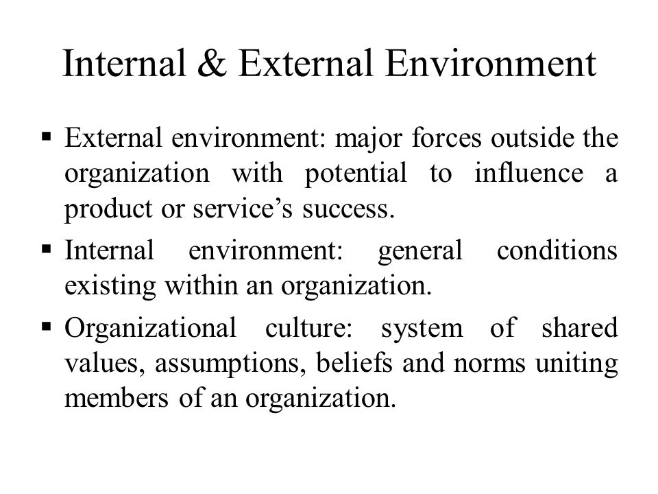 Internal & External Environment  External environment: major forces outside the organization with potential to influence a product or service's succe