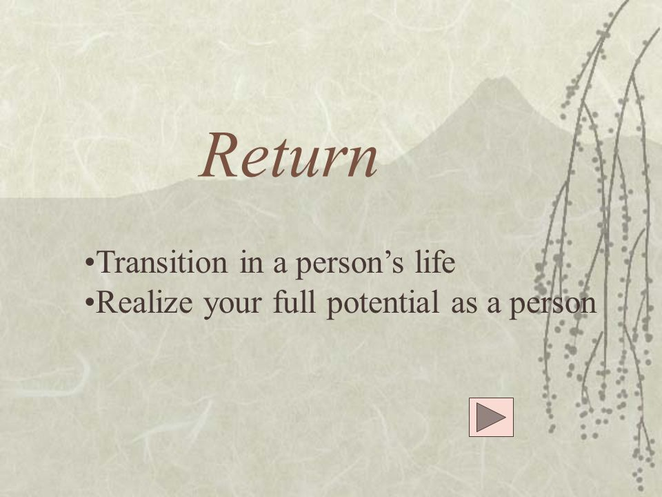Return Transition in a person's life Realize your full potential as a person